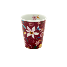 Rice porseleinen mok/ koffiebeker Selma's Flower Bordeaux