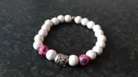 Bohemian armbandje met Boeddha kraal-roze