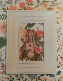 Vintage lijstje Maria met bloemen - selfmade