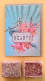 Cadeaupakketje; Amberblokjes en verjaardagskaartje