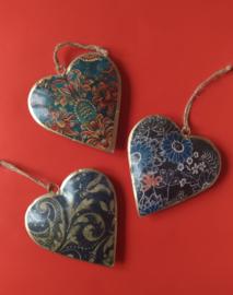 Hartjes om op te hangen blauwtint-10 cm