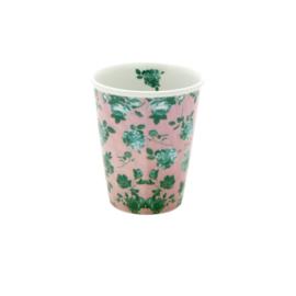 Rice Porseleinen beker met roze - groene rozen print