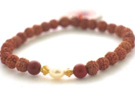 Mala armbandje met Rode Jaspis en parels - Mala Spirit