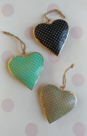 Indian hanging hearts with dots-8 cm.
