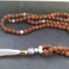 Mala with Howlite gemstones.