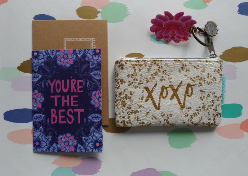 cadeausetje-portemoneetje xoxo en wenskaartje