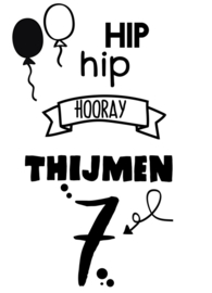 Hip Hip Hooray  Raamsticker