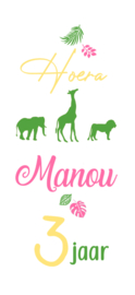 Raamsticker Verjaardag Safari Pink