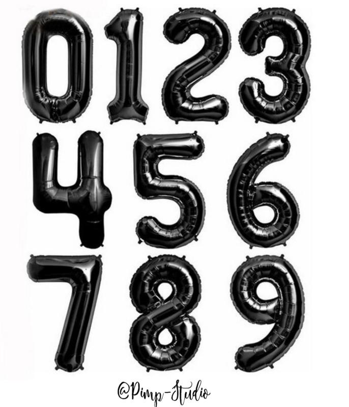 Folie Ballon Cijfer Zwart XL