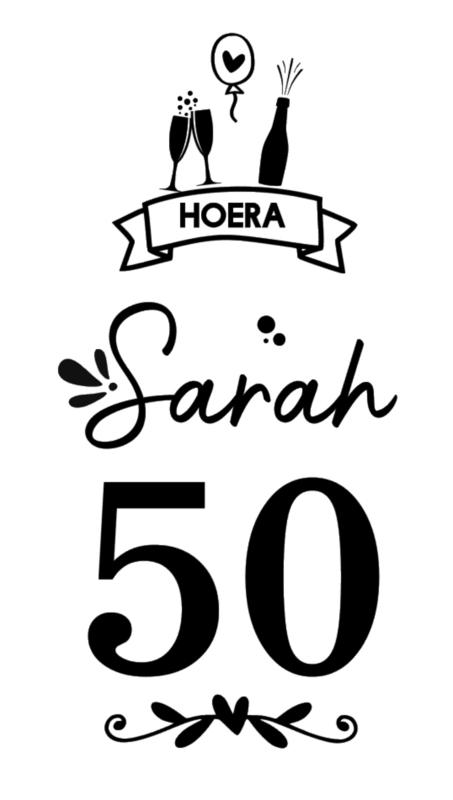 Raamsticker Sarah 50 jaar