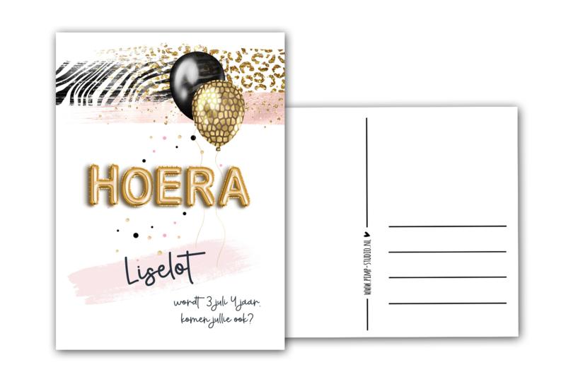 Verjaardagskaart Hoera (zelf naam en tekst toevoegen)
