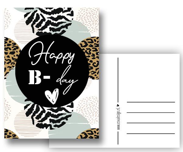 Verjaardagskaart Happy B-Day