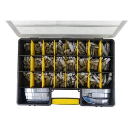 JBM Tools | SET VAN BALANCERING GEWICHTEN IN EEN KOFFER Zelfklevende platte ijzer gewichten 45 gr 100 u.
