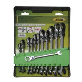 JBM Tools | Steek/Ringsleutels met scharnier | Combi sleutel met ratel | 12-Delig