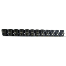 "JBM Tools | Set van 12 laag profiel zeskant impact bitten, 1/2"" uitsparing"