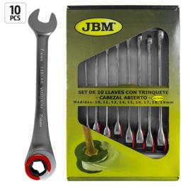 JBM Tools | SET VAN 10 ZESKANTE COMBISLEU-TELS MET EEN RATEL EN OPEN KEEL