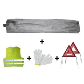 JBM Tools | Mini grijze tas noodkit + 2 driehoeken + vest + handschoenen