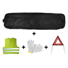 JBM Tools | Emergency kit zwarte tas trim + driehoek + vest + handschoenen