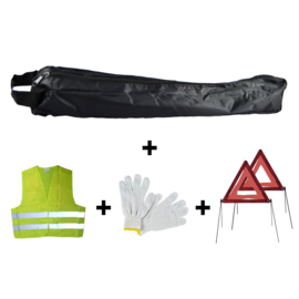 JBM Tools | Mini zwarte tas noodkit + 2 driehoeken + vest + handschoenen