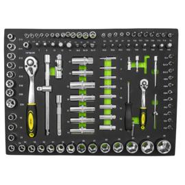 JBM Tools | Eva tray met 108 stuks hex. doppen (spiegel afwerking)