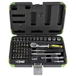JBM Tools | 1/4 Doppenset 56-Delig|Met 6 Kanten Boren |