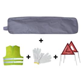 JBM Tools | Grijze randzak noodkit + 2 driehoeken + vest + handschoenen
