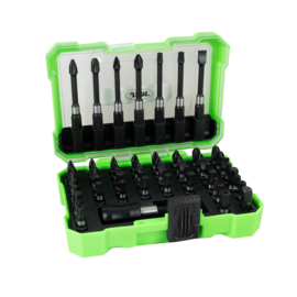 JBM Tools | Bitset met snelspanboorkop adapter | lang en kort | 34-delig | Torx | Philips | Pozidrive | Kruiskop | Veeltandig | Inbus | Doppen 6 7 8 10 mm | kwaliteit