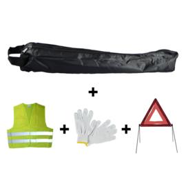 JBM Tools | Mini zwarte tas noodkit + driehoek + vest + handschoenen