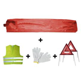 JBM Tools | Mini rode tas noodkit + 2 driehoeken + vest + handschoenen