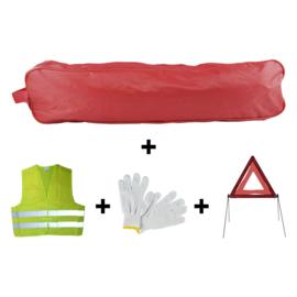 JBM Tools | Noodpakket rode zakrand + driehoek + vest + handschoenen