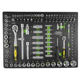 JBM Tools | Gereedschapswagen vulling | Doppenset met Ratel | Groot en klein