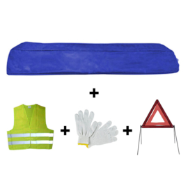 JBM Tools | Mini blauwe tas noodkit + driehoek + vest + handschoenen