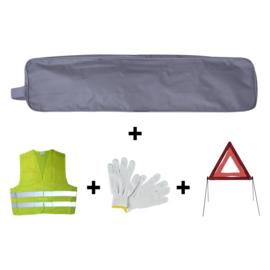 JBM Tools | Noodpakket grijze zakrand + driehoek + vest + handschoenen