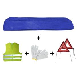 JBM Tools | Mini blauwe tas noodkit + 2 driehoeken + vest + handschoenen