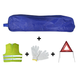 Emergency kit tas blauwe rand + driehoek + vest + handschoenen