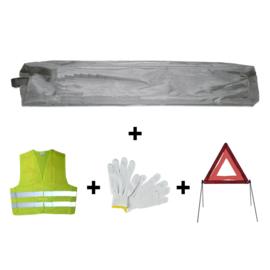 JBM Tools | Mini grijze tas noodkit + driehoek + vest + handschoenen