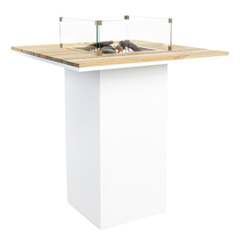 Cosiloft 100 Bar Table white frame / teak top