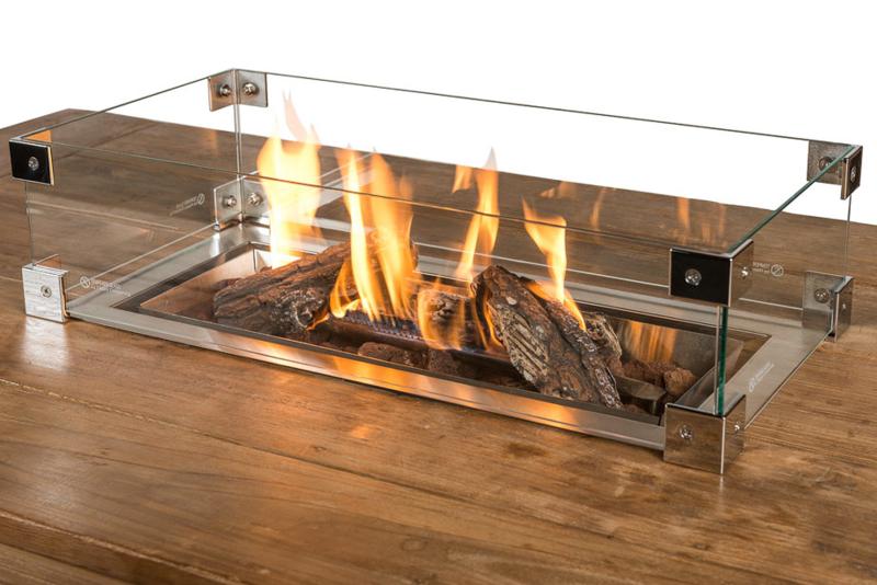 Glazen ombouw Cocoon Table Inbouwbrander Rechthoek groot 100x35 cm