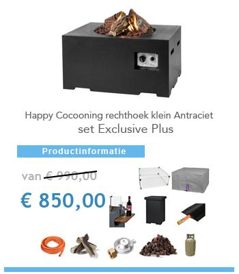 Aanbieding complete set vuurtafel Happy Cocooning