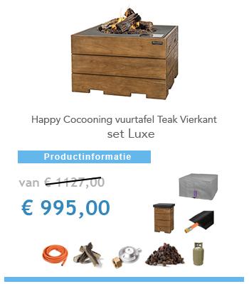 complete set Happy Cocoon Vuurtafel teak