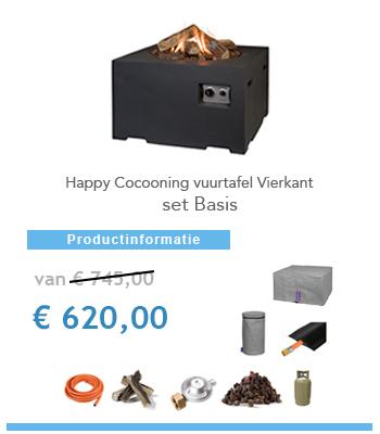 complete set vuurtafel happy cocoon vierkant
