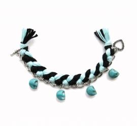 Skull Bracelet: Zwart - Turqouise