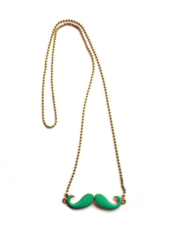 Moustache Necklace - Bright Green or Black