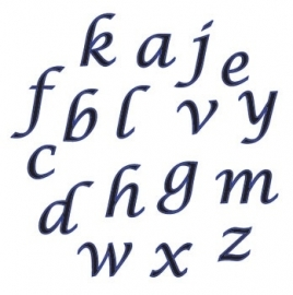 FMM Alphabet Tappits Lower Case Script.