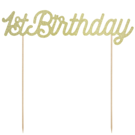 PartyDeco Cake Topper 1st Birthday - Goud