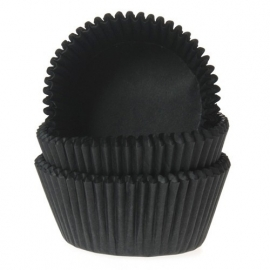 House of Marie Mini Baking Cups Effen Zwart (60 st.)