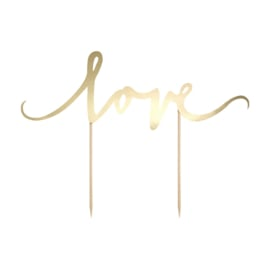 PartyDeco Cake Topper Love - Goud