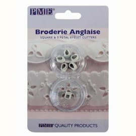 PME Broderie Anglaise Square & 5 Petal Eyelet Cutters