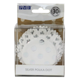 PME Foil Lined Baking Cups Silver Polka Dot pk/30