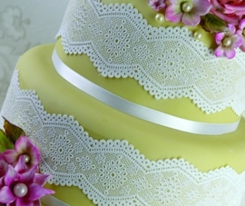 Broderie Anglaise 3D Cake Lace Strip Mat By Claire Bowman.
